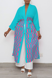 Cyan Casual Geometric Print Split Joint With Belt Outerwear