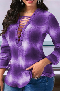Purple Fashion Casual Print Hollowed Out V Neck Tops