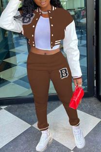 Brown Casual Sportswear Print Split Joint Buckle Mandarin Collar Long Sleeve Two Pieces