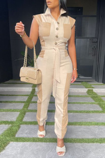Cream White Casual Solid Split Joint Pocket Buckle With Belt Turndown Collar Straight Jumpsuits