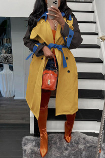 Yellow Casual Elegant Solid Make Old With Belt Turndown Collar Outerwear