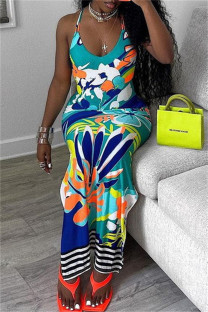 Colour Fashion Sexy Print Backless Slit Spaghetti Strap Long Dress