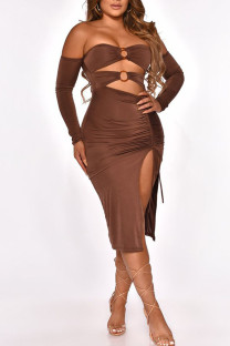 Coffee Sexy Solid Hollowed Out Split Joint Frenulum Metal Accessories Decoration Fold Strapless One Step Skirt Dresses