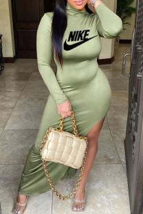 Green Fashion Sportswear Print Slit O Neck Irregular Dresses