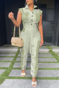 Light Green Casual Solid Split Joint Pocket Buckle With Belt Turndown Collar Straight Jumpsuits
