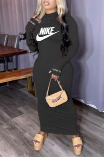 Black Fashion Sportswear Print Split Joint O Neck One Step Skirt Dresses
