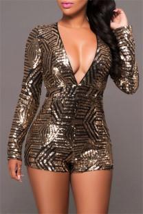 Black Gold Fashion Sexy Patchwork Sequins V Neck Regular Romper