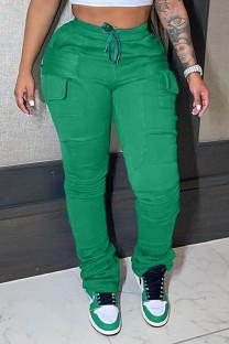 Green Casual Solid Split Joint Pocket Regular High Waist Pencil Patchwork Bottoms