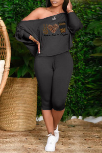 Black Brown Fashion Casual Letter Print Basic Oblique Collar Long Sleeve Two Pieces