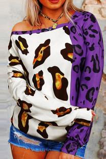 Purple Fashion Casual Print Leopard Split Joint Tops