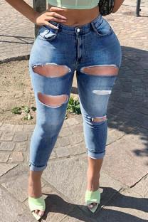 Medium Blue Fashion Casual Solid Ripped High Waist Skinny Denim Jeans