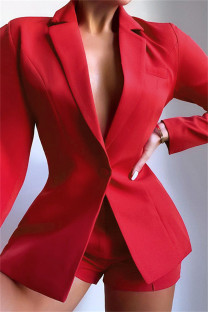 Red Fashion Casual Solid Basic Turndown Collar Long Sleeve Two Pieces