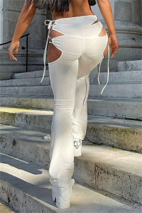 White Fashion Sexy Solid Bandage Hollowed Out Regular High Waist Trousers