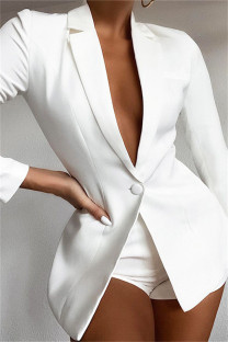 White Fashion Casual Solid Basic Turndown Collar Long Sleeve Two Pieces