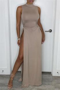 Khaki Fashion Sexy Solid Bandage Slit Turtleneck Sleeveless Dress Dresses