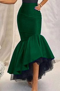 Ink Green Fashion Casual Solid Split Joint Regular High Waist Skirt