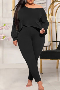 Black Fashion Casual Solid Basic Oblique Collar Plus Size Two Pieces