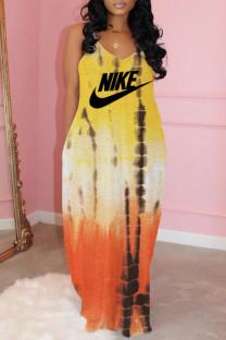 Yellow Fashion Celebrities Print Split Joint V Neck A Line Dresses