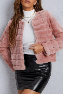 Pink Fashion Casual Solid Cardigan Outerwear