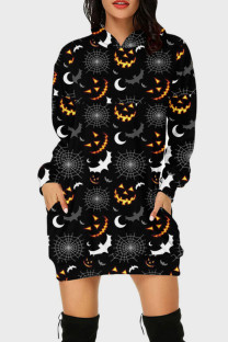 Black Gray Street Print Split Joint Hooded Collar Long Sleeve Dresses