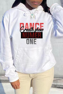 White Black Fashion Casual Letter Print Basic Hooded Collar Tops