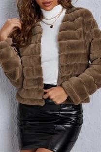Coffee Fashion Casual Solid Cardigan Outerwear
