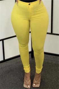 Yellow Fashion Casual Solid Basic Skinny High Waist Pencil Trousers