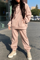 Apricot Fashion Casual Solid Basic Hooded Collar Long Sleeve Two Pieces