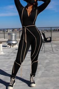 Black Casual Street Sportswear Solid Split Joint Frenulum Zipper Collar Skinny Jumpsuits
