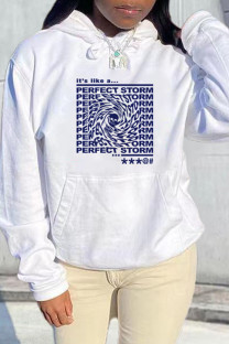 White Blue Fashion Casual Letter Print Basic Hooded Collar Tops