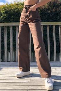 Brown Fashion Casual Solid Basic High Waist Straight Denim Jeans