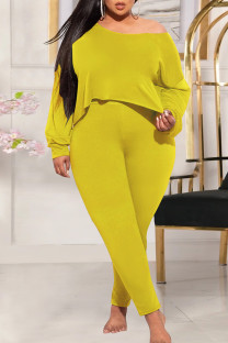 Yellow Fashion Casual Solid Basic Oblique Collar Plus Size Two Pieces