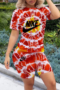 Red Fashion Casual Print Tie-dye O Neck Short Sleeve Two Pieces