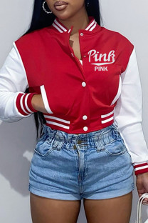 Red Fashion Casual Letter Embroidery Split Joint Outerwear
