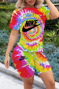 Yellow Fashion Casual Print Tie-dye O Neck Short Sleeve Two Pieces