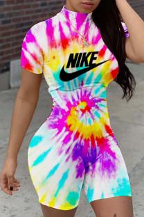 White Fashion Street Print Tie-dye O Neck Straight Jumpsuits