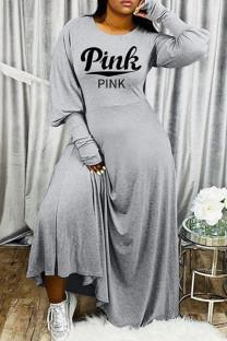 Grey Fashion Casual Letter Print Basic O Neck Long Sleeve Dresses