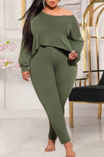 Army Green Fashion Casual Solid Basic Oblique Collar Plus Size Two Pieces