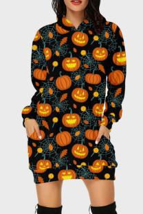 Black Orange Street Print Split Joint Hooded Collar Long Sleeve Dresses