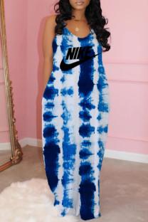 Blue Fashion Celebrities Print Split Joint V Neck A Line Dresses