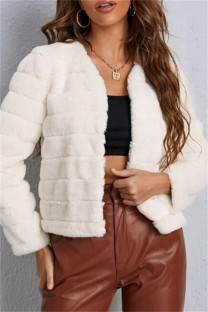 White Fashion Casual Solid Cardigan Outerwear