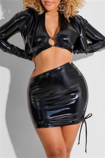 Black Fashion Sexy Solid Hollowed Out V Neck Long Sleeve Three-piece Set