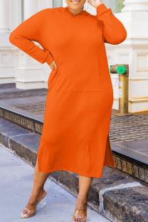 Orange Fashion Casual Solid Slit Hooded Collar Long Sleeve Plus Size Dresses