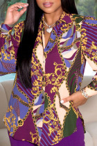 Purple Fashion Casual Print Basic Turndown Collar Tops