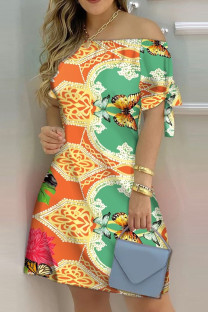 Orange Fashion Casual Print Bandage Off the Shoulder Short Sleeve Dress Dresses