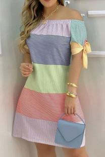 Stripe Fashion Casual Print Bandage Off the Shoulder Short Sleeve Dress Dresses