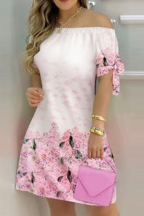 Pink Fashion Casual Print Bandage Off the Shoulder Short Sleeve Dress Dresses