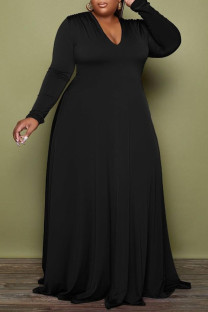 Black Casual Elegant Solid Split Joint V Neck A Line Plus Size Dresses