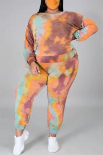 Orange Fashion Casual Print Tie Dye Backless O Neck Plus Size Two Pieces