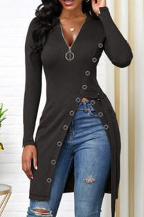Black Fashion Casual Solid Split Joint V Neck Tops